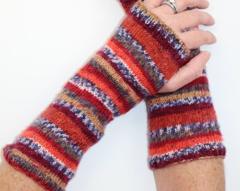 Knit Fingerless Gloves Red White Blue Beige Handwarmers Fingerless Glove Mittens Long Knit Gloves