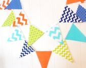 Banner, Bunting, Fabric Pennant Flags, Orange, Lime, Aqua, Royal Blue, Chevron, Polka Dot, Baby Boy Nursery Decor, Wedding, Birthday Garland