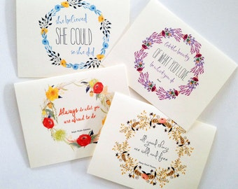 Set of 8 Greeting Card Set, Inspirational Card Assortment, Note Cards