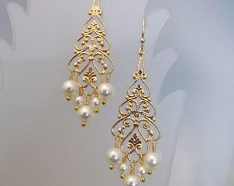 Pearl Earring, Pearl Filigree Earring, Swarovski Crystal Earring, Bride Earring, Pearl Chandelier Earring, Pearl, Bridesmaid, Wedding, Gold