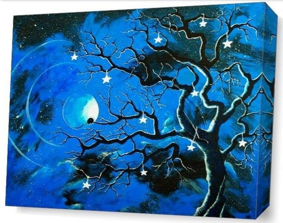 LE Deep Canvas Wrap Giclee Print of Original Painting Blue Enchanted Evening Amber E. Lamoreaux Tree Silhouette Night Sky Stars Birds Blue