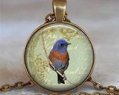 Bluebird Collage pendant. bluebird necklace bluebird of happiness pendant bird lover gift bluebird jewelry key chain key key fob key ring