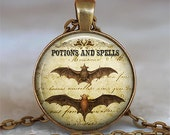 Bat Wing Potion Halloween jewelry charm, Halloween necklace, Bat jewelry, bat necklace, bat pendant, bat keychain key chain key fob