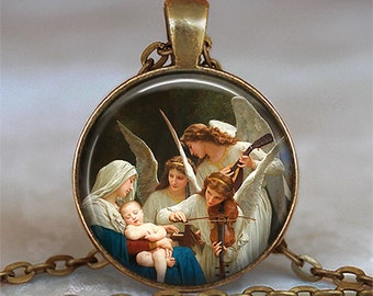 Virgin and the Angels necklace, angel pendant, Christ Child Christmas pendant,  Virgin Mary Madonna necklace Baby Jesus