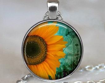 Sunflower pendant, sunflower jewelry, sunflower jewellery, sunflower necklace, sunflower keychain, sunflower key chain
