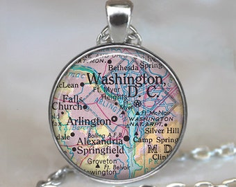 District of Columbia map pendant Washington DC map necklace Washington DC necklace Washington DC keychain