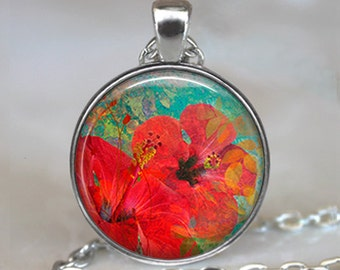 Summer Hibiscus necklace, Hibiscus pendant, flower necklace, flower pendant, summer jewelry keychain key chain