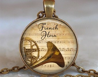 French Horn & Music pendant, French Horn pendant, music pendant music jewelry, music gift keychain key chain key fob
