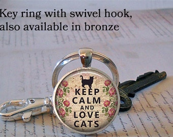 Keep Calm and Love Cats key chain, necklace, cat lover gift, cat lover jewelry, cat jewellry, cat lover pendant, cat pendant key chain