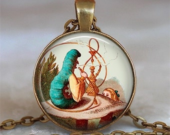 Alice and the Caterpillar pendant, Alice in Wonderland necklace Wonderland pendant Wonderland jewelry keychain