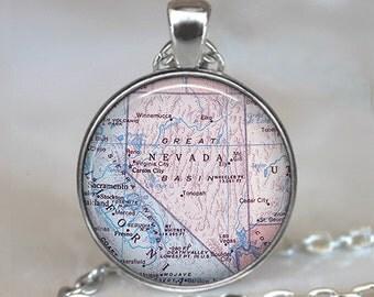 Nevada map pendant, Nevada necklace, Nevada map necklace, Nevada pendant, map jewelry, state map jewelry keychain key chain