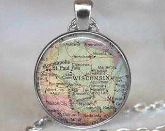 Wisconsin map pendant, Wisconsin map necklace state map jewelry, Wisconsin necklace, Wisconsin pendant keychain key chain key fob