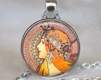 Alphonse Mucha's Savonnerie art pendant, Art Nouveau necklace, Art Nouveau pendant, Mucha art pendant keychain key chain key fob