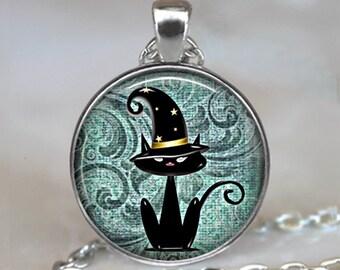 Black Cat Magic pendant, Black Cat necklace, Halloween necklace Halloween pendant, cat jewelry, Halloween jewelry keychain key chain