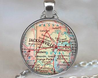 Jacksonville, Florida map pendant, Jacksonville map necklace, Jacksonville pendant, Jacksonville necklace, keychain key chain key fob