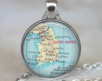 South Korea map pendant, South Korea map necklace, South Korea pendant, South Korea necklace map jewelry keychain key chain