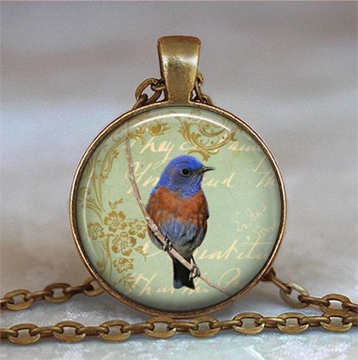 bluebird collage pendant bluebird necklace pendant bird lover