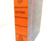 RESERVED - vintage marbled file folder box.ORANGE/PINK trim.clean.desk.office.home.tessiemay