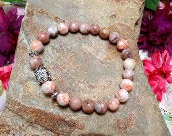 Buddha Gemstone Bracelet, Jasper Stretch Bracelet