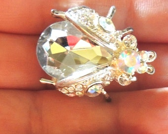 Stunning Crystal Vintage Rhinestone Brooch Pin Beetle Bug Vintage Jewelry