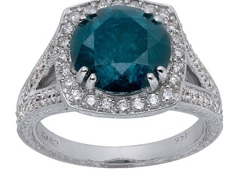 3.84 Carat Fancy Blue Diamond Engagement Ring Certified Vintage Style Hand Engraved Ring 14K White Gold HandMade Unique Ring