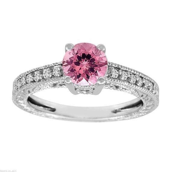 pink tourmaline engagement ring 14k by jewelrybygaro