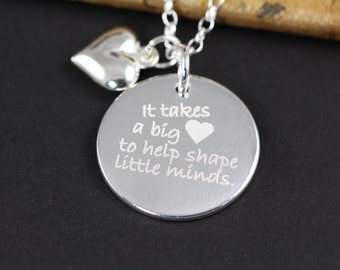 Personalized Gifts for Teachers, Jewelry for Teachers, Unique Gift Idea Teacher Appreciation, Necklace for Teacher