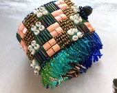 SALE 50% off - Tribal Checkers - Urban Gipsy Bracelet Cuff with Fringe, Bead Embroidered, Perfect for Layering