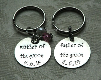 Mother of the Bride, Father of the Groom - Two hand stamped sterling silver keychains - perfect for wedding gifts