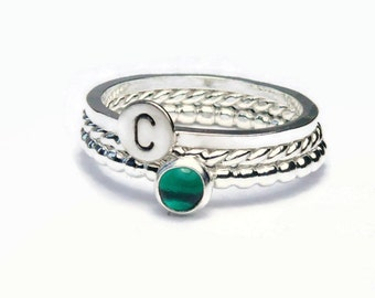 Emerald ring silver stacking ring unique silver rings personalized jewelry silver initial ring monogram ring sterling silver ring set