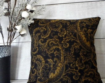 Black and Gold Paisley Pillow Cover - Traditional Pillow Cover - Black Throw Pillow - Black and Gold Decor