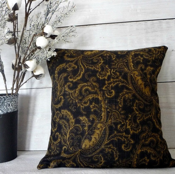 black and gold paisley pillow cover traditional pillow cover. Black Bedroom Furniture Sets. Home Design Ideas