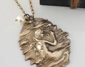 Mermaid Jewelry - Mermaid Necklace - Fantasy Jewelry - Vintage Brass jewelry - Vintage Necklace - handmade jewelry