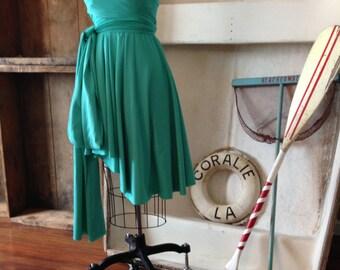 "Ready to Ship~ Plus Size 24"" Straight Hem~ Lantern Lucite Turquoise Blue Green -Octopus Convertible Short Wrap Dress"