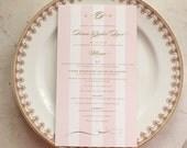 bridal luncheon, bridesmaids' luncheon OR wedding shower menu - pink monogram & stripes