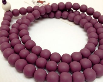 Piccolo Resin Bead Matte finish Statement Necklace in Radiant Orchid Plum Purple