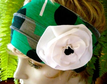Womens Headband Head Wrap Comfortable wide Stretch knit adult Headwrap green grey white and black with flowers