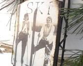 1930's Ski Team - Large Rusty Tin Sled - Vintage Ski - Ornament - Vintage Sled - Ski - Sled - Rustic - Holiday- Nordic - Vintage Ski - Skier