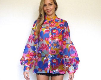 70s Sheer Psychedelic Floral Print Poet Sleeve Blouse xs s