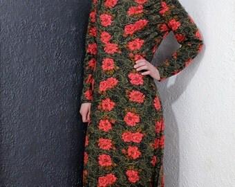 Vintage Long Sleeved Floor Length Rose Print Dress Union Made M