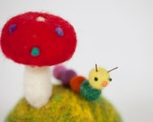 felted red toadstool and little caterpillar needle felted pincushion woodland decoration