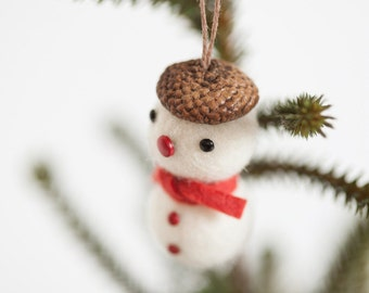 Felt ball acorn snowman Christmas tree ornament set of 5