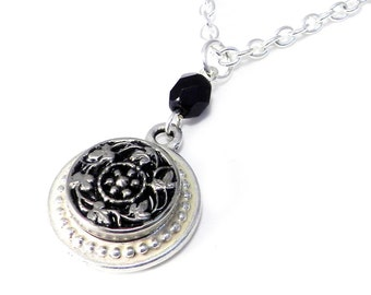 SALE Victorian Button Necklace - Midnight Black and Silver Vintage Mirror Button on Silver