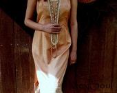 Vintage Peach Slip Wedding Dress, Alternative Bride, Vintage Paris Slip Dress, OOAK Design, Beach/Ranch/Praire Wedding, Simple, Elegant
