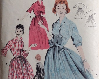 Vintage Sewing Pattern 1950's Full Skirted Doris Day Style Shirt Dress Size 16 Fitted Bodice Shoulder Pads