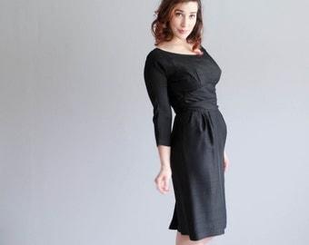 1950s Silk Dress - Vintage 50s Little Black Dress - Dark Eyes Dress