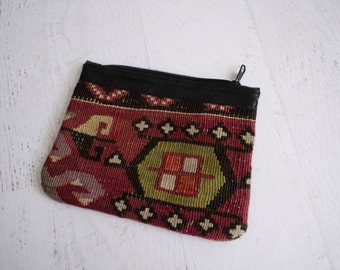 Vintage 1990s Kilim Clutch - 90s Turkish Purse - Karaman Clutch