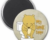 Thinker Bear Magnet or Button -M4- | Funny Magnet | Funny Button
