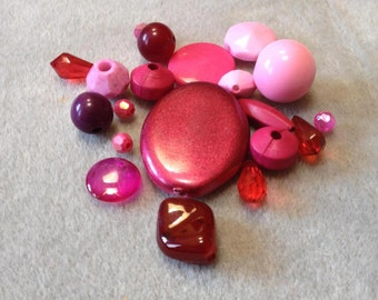 Raspberry Shimmer - Acrylic Bead Mix - 20 beads