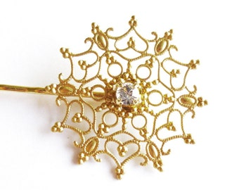 Snowflake Hair Clip Gold Bridesmaid Bobby Pin Vintage Inspired Rhinestone Crystal Winter Wedding Bridal Accessories Womens Gift For Her